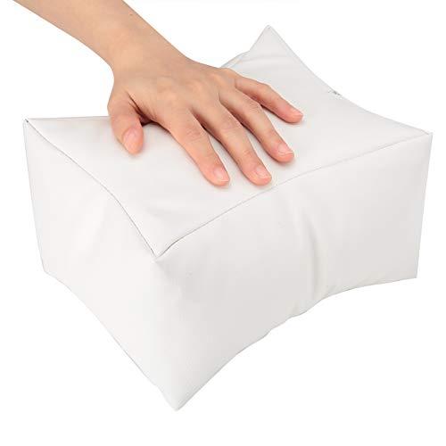Cuscino per Mani, Cuscino Poggiamani per Manicure, Cuscino Staccabile per Nail Art per Mani e Piedi, Cuscinetto per la Cura delle Unghie in Morbida Pelle PU per Salone di Bellezza(bianca)