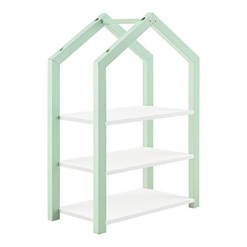 [en.casa] Kinderregal Haus-Optik 85 x 60 x 30 cm Spielzeugregal Standregal 3 Ablagen Kiefernholz MDF Mintgrün/Weiß