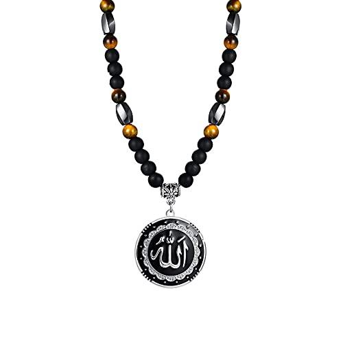 VAWAA Joyería para Hombres árabes, Colgante de Disco de Allah, Collar de Ojo de Tigre, Joyas de Moda Musulmana con Cuentas de Lava