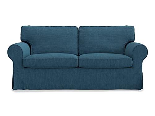 Masters of Covers Funda para Sofá de 2 Plazas IKEA Ektorp, Hecho a Mano, Funda Protectora para el Sofá, Un Nuevo Look para Tu Viejo Sofá, 179 cm x 88 cm x 73 cm (Azul Marino, Poliéster)