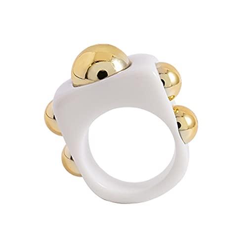 XPT Anillo de dedo de moda para mujer, diseño geométrico de moda, para todo el partido, anillo de bola de metal, para fiesta, uso diario, color blanco