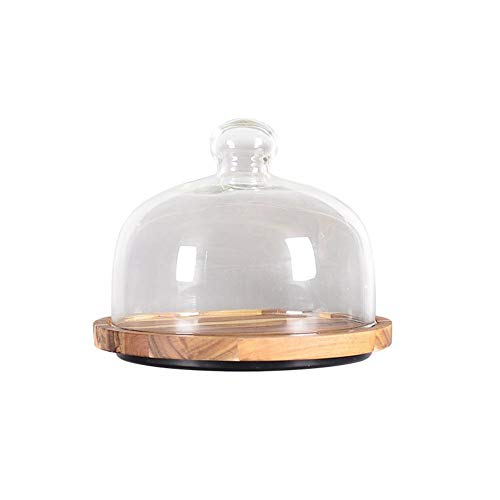 Soporte de madera para tartas con tapa de cristal – Cúpula de cristal transparente y queso con bandeja de madera natural, perfecto para guardar tus deliciosos pasteles y pasteles, Acacia, 8 pulgadas