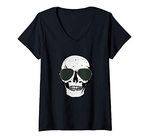 Mujer Calavera envejecida con gafas de sol Camiseta Cuello V