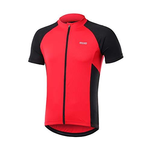 ARSUXEO Camiseta de Ciclismo de Manga Corta para Hombre Camiseta de Bicicleta MTB con Bolsillo con Cremallera 655 Rojo L