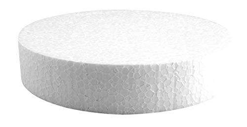 Rayher 3003400 Styropor-Scheibe, 20 cm ø, Höhe 4 cm, ideal als Kuchen-Dummy, Styropor-Torten-Dummy, Styroporscheiben Torte