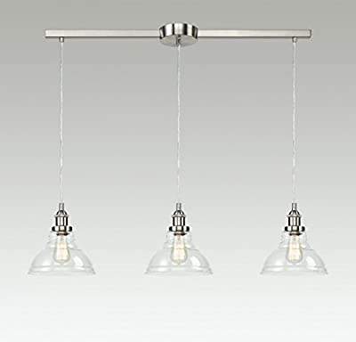 EUL Industrial Island Lighting Vintage Pendant Lamp with Clear Glass Shades Brushed Nickel-3 Light