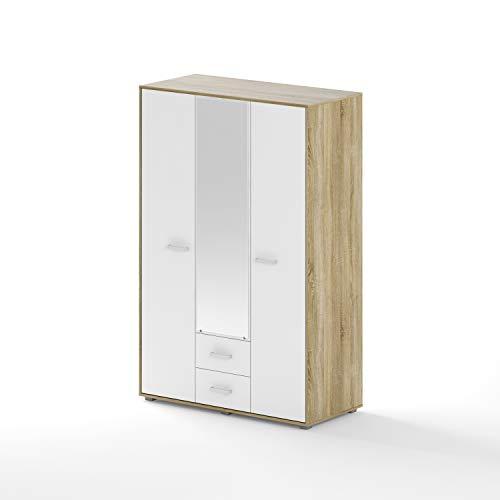 BIM Furniture Dynamic24 Aurora IV - Armario de pie con 3 puertas y espejo (madera de roble), color blanco