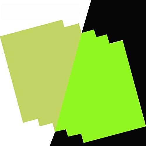 Glow in The Dark Sticker A5 Paper 5pcs a Pack Self-Adhesive Photoluminescent Vinyl DIY Cut Glowing...