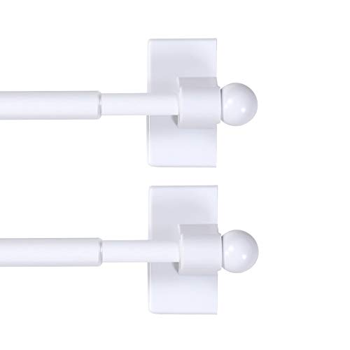 H.VERSAILTEX 2 Pack Magnetic Curtain Rods for Metal Doors Top and Bottom Multi-Use Adjustable Appliances for Iron and Steel Place, Petite Ball Ends, 16 to 28 Inch, 1/4 Inch Diameter, White