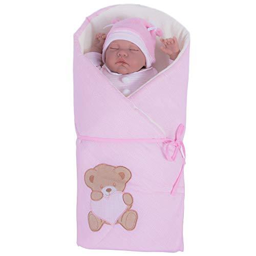 Sevira Kids - Gigoteuse d'emmaillotage Multi-Usage 100% coton certifié - Nid d'ange naissance Rose Nounours