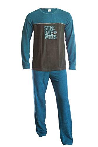 Frotee Herren Pyjama 2-teilig Langarm Obertiel + Lange Hose Stone/Blau L