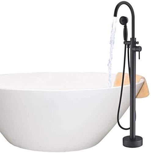 BAOSHISHAN Wannenarmatur Freistehende Bodenmontage freistehender Badarmatur Badewannen Wasserhahn Duscharmatur,Handbrause Schwarz