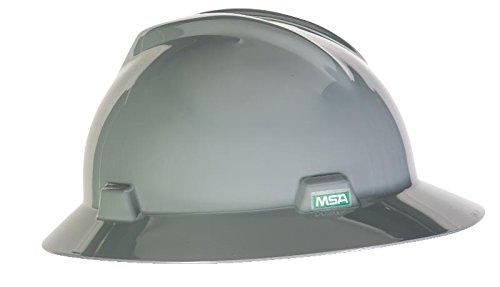 MSA 454731 V-Gard Full-Brim Hard Hat with Staz-on Pinlock Suspension   Polyethylene Shell, Superior Impact Protection, Self Adjusting Crown Straps - Standard Size in Gray