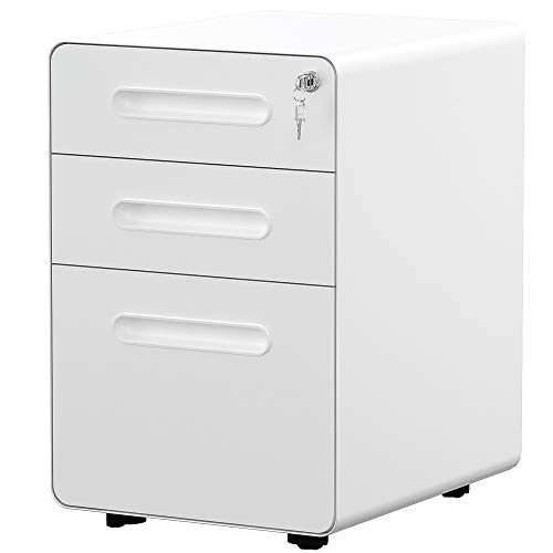 YITAHOME 3-Drawer Office Storage Cabinet, Metal Mobile File Cabinet with Keys and Anti-tilt System, Home Commercial Pedestal File Cabinet Under Desk (White)