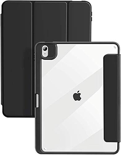 Funda para iPad Air 4 10,9 Pulgadas 2020, Carcasa Trasera Dura Transparente con Borde De TPU Suave, Portalápices Incorporado, Reposo/Activación Automático,Black