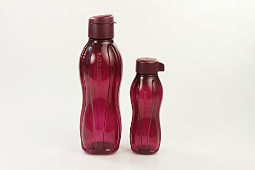 TUPPERWARE To Go Eco 750ml bordeauxrot Trinkflasche mit Klip + Eco 310 ml bordeauxrot 28644
