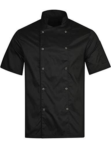 BWOLF Nozomi Kochjacke Unisex Kochjacke Damen Kochjacke Herren Schwarz/Weiss Kochkleidung Professional Chef Uniform Kurzarm (Schwarz, L)