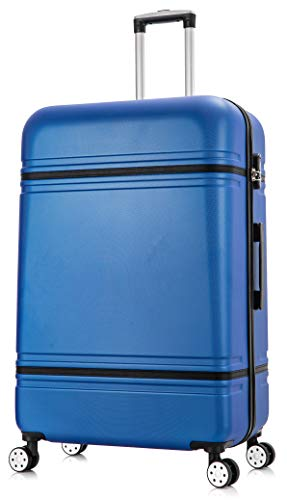 DK Luggage Lightweight ABS DK147 Hardshell Extra Large 32' Suitcase 4 Wheel Spinner Blue