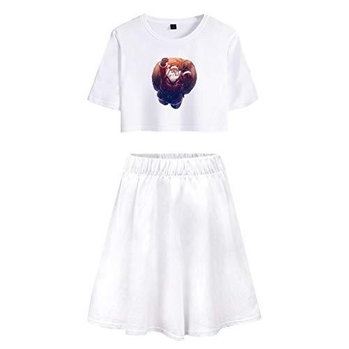 TWIFER Weihnachtskleid Set Damen Baumwolle Kurzes T-Shirt + Kurzer Rock(a-Weiß,L)