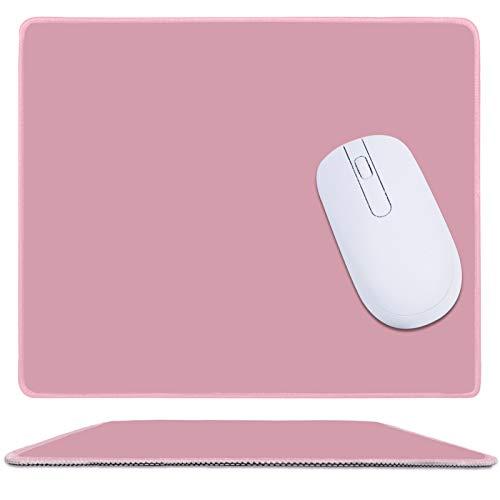 Gaming Mauspad Vernähte Kanten, Office Mousepad mit Wasserabweisende und rutschfeste Gummibasis, Stoff Mousepad Klein, Rosa Mauspad für Laptop, Computer & PC
