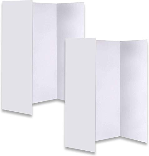 JJ CARE [New & Improved] Premium White Trifold Presentation Board - Trifold Poster Board [Set of 2] Heavy-Duty Corrugated Cardboard Poster for Art Projects, Trifold Board for Science Fair