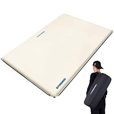 FUNDANGO Double Size Premium Luxury 2 inches Thick Durable Self-Inflating Damp-Proof Foam Sleeping Pad, Comfortable Camping Mattress for Tent and Family Camping, White