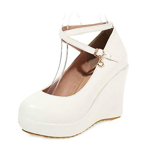 Gladwill Zapatos de tacón de cuña para mujer con plataforma de correa cruzada y plataforma Mary Jane para novia, vestido de novia