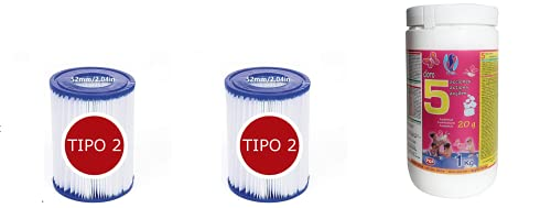 Cloro 5 ACCIONES 1KG Pastillas DE 20 Gramos + Bestway - Cartucho...