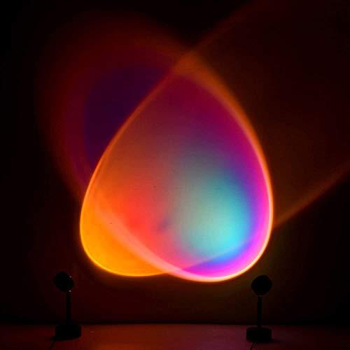 Nuevo Arco Iris Proyección De Lámpara LED Rotación De 90 ° Red De Luz LED Visual Romántica Luz Roja Soporte De Piso Moderno Luz Nocturna Sala De Estar Dormitorio Decoración Lámpara con USB
