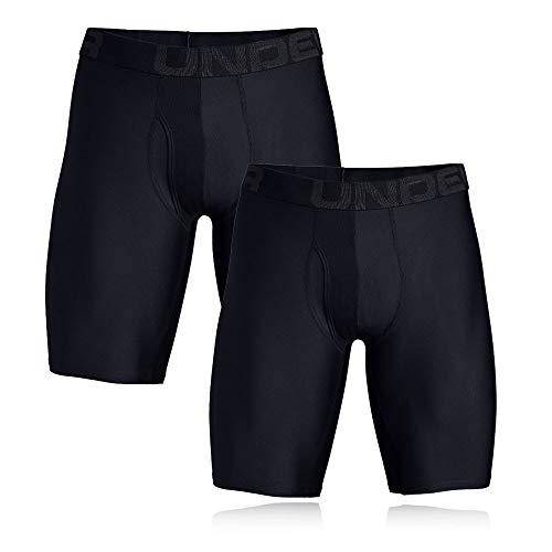 Under Armour Herren Tech 9in 2 Pack schnelltrocknende Boxershorts, komfortable Unterwäsche mit enganliegendem Schnitt, Schwarz (Black/Black (001), Medium