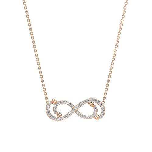 Collar de diamante infinito de 1/4 quilates, collar de corazón infinito, colgantes de aniversario para mujer, Metal, Diamond,