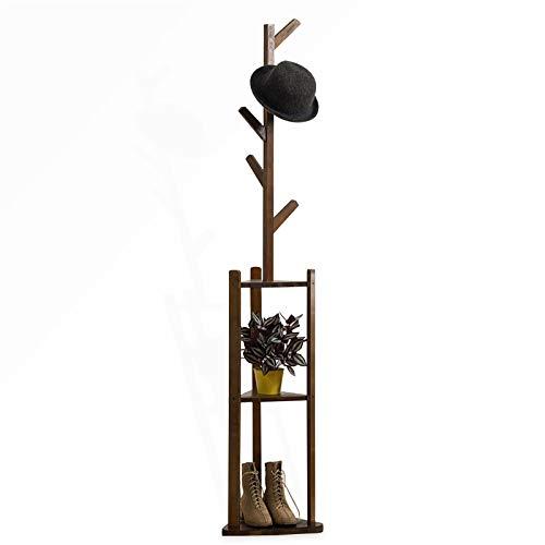 AKOZLIN コートハンガー 5本 三段棚付き ポールハンガー 幅36×高さ180cm 衣類収納 衣類掛け 竹製 省スペース 洋服帽子掛け 物置き 組み立て簡単 ダークブラウン