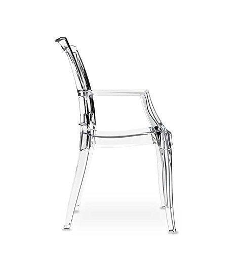 Fiesta Wunderschöner Acryl Plexiglas Armlehnstuhl Ghost Chair Transparent (wirklich klar), sehr stabil und stapelbar. Kein China Import, Qualitätsware.