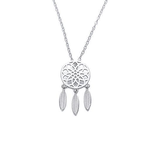 LFWQ halsketting, eenvoudig, S925, puur Europees en Amerikaans zilver, met holle veren, sleutelketting, accessoires voor vrouwen
