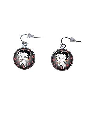 Boucles d'oreilles suspendues en acier inoxydable, diamètre 20 mm, fait à la main, illustration Betty Boop