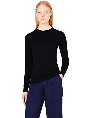 Amazon-Marke: MERAKI Merino Pullover Damen mit Rundhals, Schwarz (Black), 38, Label: M