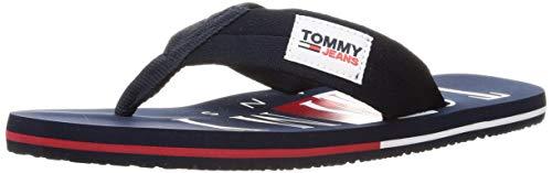 Tommy Jeans Bruce 14D, Sandalias Planas Hombre, Azul Marino Crepúsculo, 43