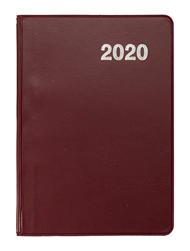 Idena 11479 - Taschenkalender 2020, A7, Glanz Bordeaux, 1 Stück