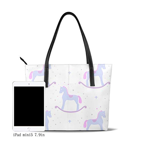 OMNVEQ Bolso De Mano Grande para Mujer Caballos Mecedora Tote Bag Shopper Cuero De La PU Bolso De...