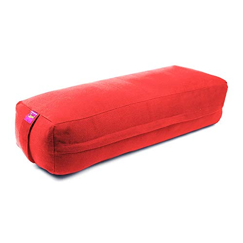 Rectangular Yoga Bolster-Removable Canvas Cover with Carry Handles by Yogavni (TM)