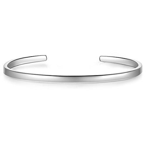 Glanzstücke München Damen-Armreif Sterling Silber rhodiniert 14 cm flexibel einstellbar zu gravieren - Bangle in Silberfarben/Silber-Armband für Gravur