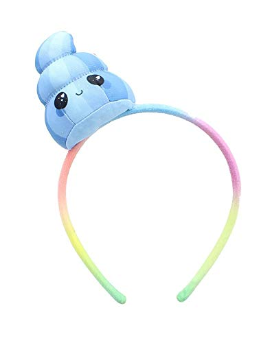 Glitter Galaxy Plush Blue Poop Emoji Child Costume Headband