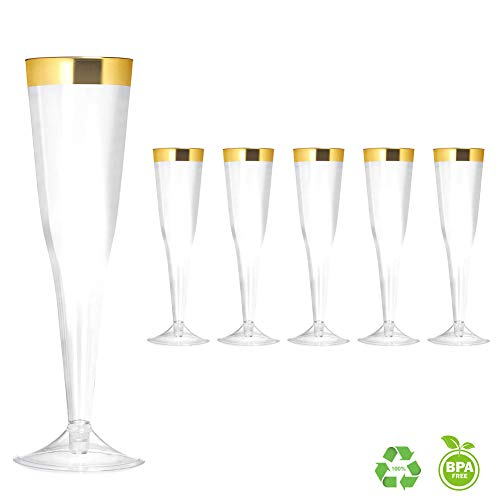 Clear Plastic Disposable Party Cups 6 Ounce Champagne Flutes (50 Pack) Elegant 6oz Disposable Stemware with Gold Rim Perfect for Holiday Party Wedding and Special Occasions, Gold