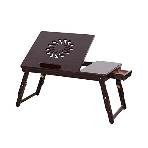 WTBHD 53cm Portable Foldable Sunflower Engraving Pattern Adjustable Bamboo Computer Bed Desk Sandal Wood PC Stand Notebook Table Color (Color : Black)