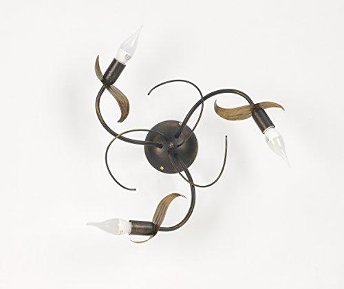 Onli Lie plafondlamp 3 lampen E14, bruin/goud, 45 cm x h 20 cm