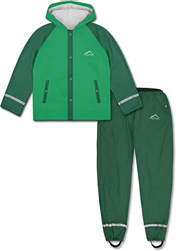 normani Outdoor Sports Kinder wasserdichter Regenanzug Set aus Regenjacke und Regenhose für Jungen und Mädchen 5000 mm Wassersäule - 100% Winddicht und wasserdicht Farbe Grün Größe M/134-140