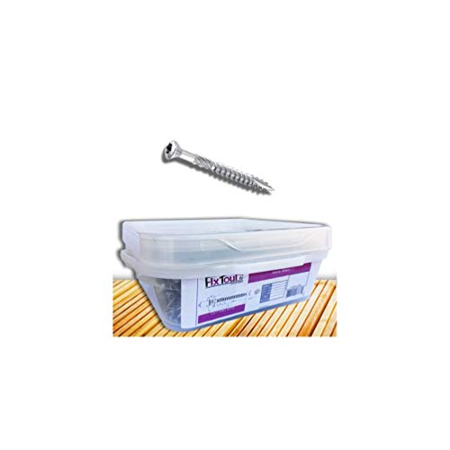 Fixtout - Seau de 1000 vis terrasse INOX A2, tête réduite crantée, TX25, D. 5 x 60 mm + embout offert - 9391564003 - FIXTOUT