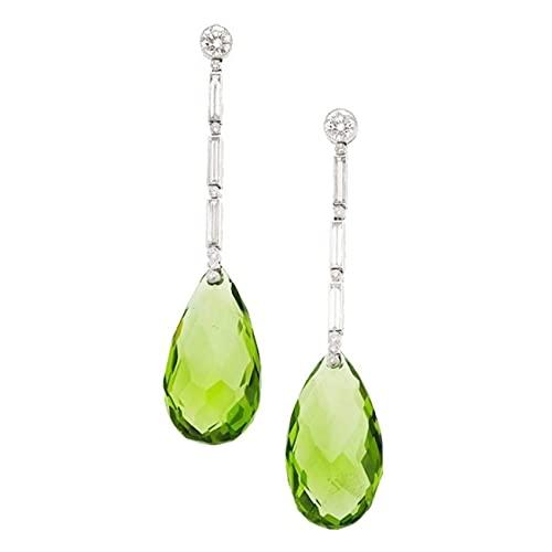 Pendientes colgantes de peridoto verde brillante verde SMEJS con circón, elegantes pendientes colgantes de piedra natal, joyería para regalos de mujer