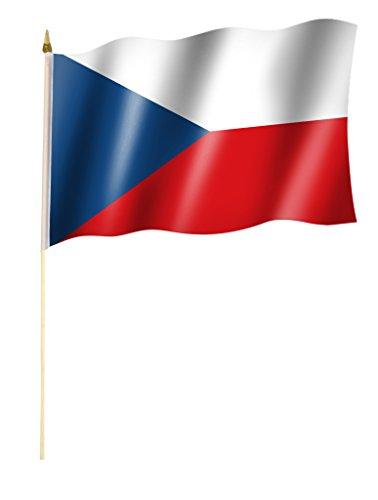 Stockflagge/Stockfahne TSCHECHIEN / TSCHECHISCHE REPUBLIK Flagge/Fahne ca. 30 x 45 cm mit ca. 60cm Stab/Stock