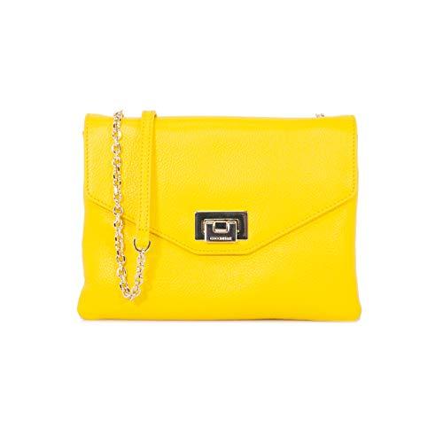 Coccinelle - Bolso cruzados de Cuero para mujer Amarillo amarillo 21 x 12.5 x 4.5 cm